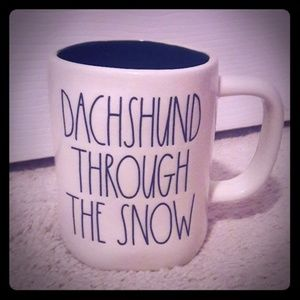 Rae Dunn DUCHSHUND THROUGH THE SNOW mug w green